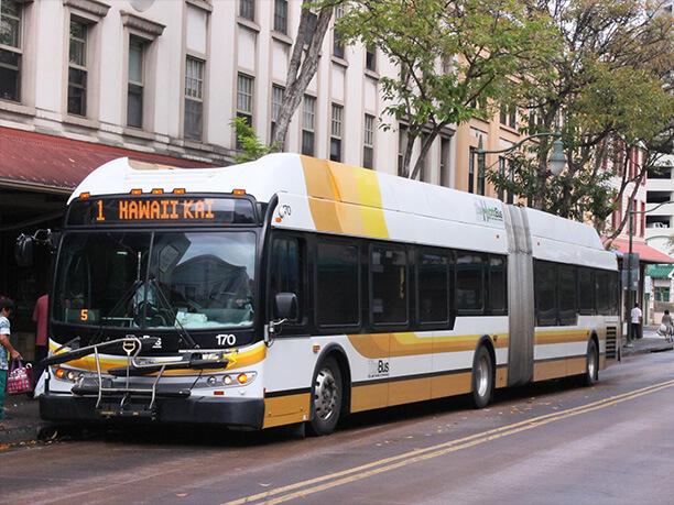 2両編成のバス