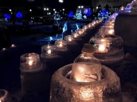 幻想的な冬のイベントが氷灯り(ひあかり)の街もんべつ