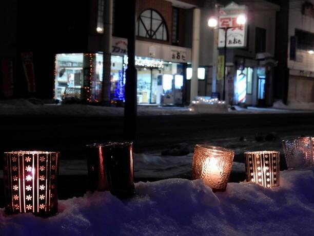 ロマンチックな氷灯りの街