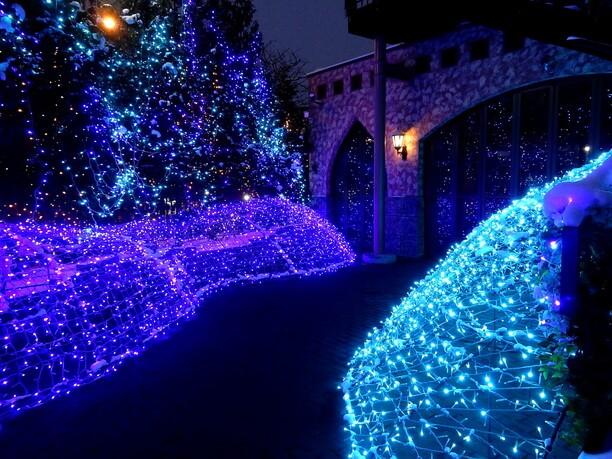 ゆっくりと青みを増して青紫のように染まる光