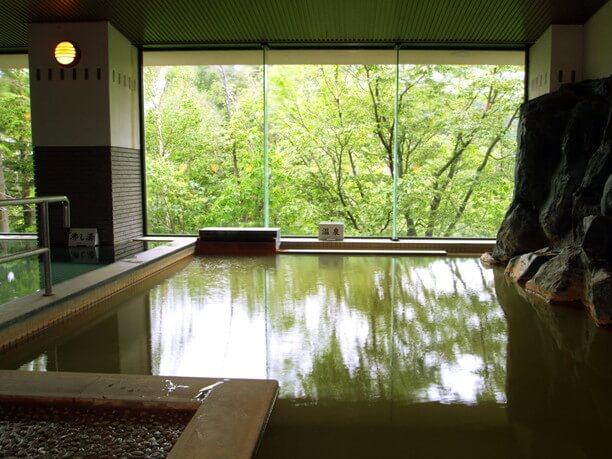 大きな窓から美しい大自然を望む内湯