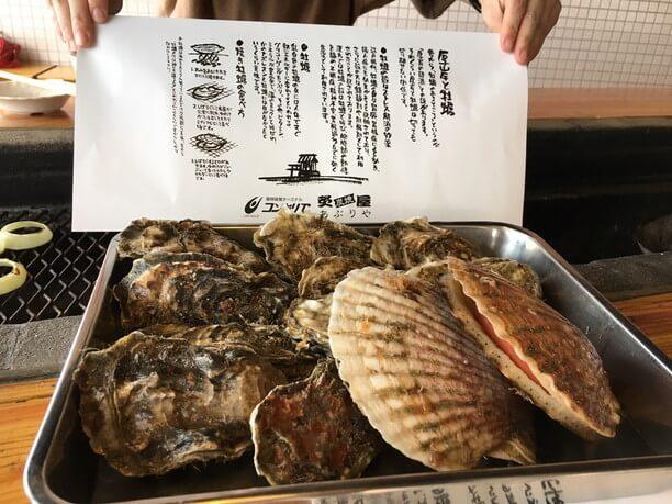 牡蠣と大きなホタテ