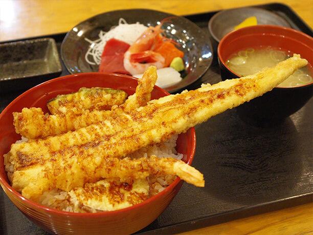 エビ·アナゴ天丼刺身セット