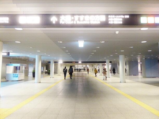 地下鉄南北線のさっぽろ駅と大通駅を結ぶ札幌駅前通地下歩行空間
