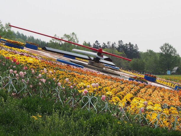 花時計に植えられた季節に合わせた花々