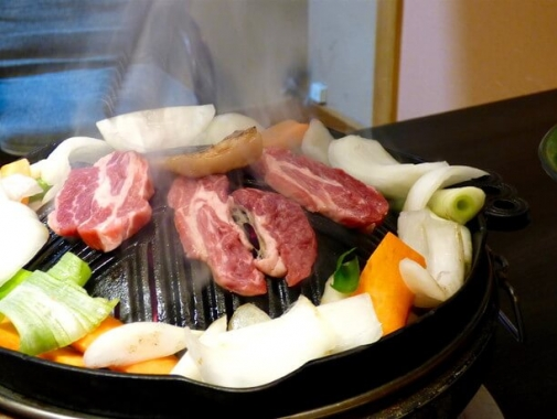 焼き野菜とジンギスカン