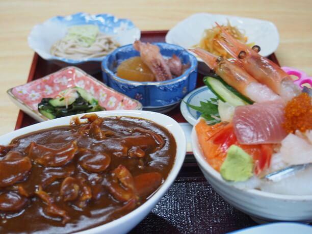 ホッキカレーと弐七丼のセット