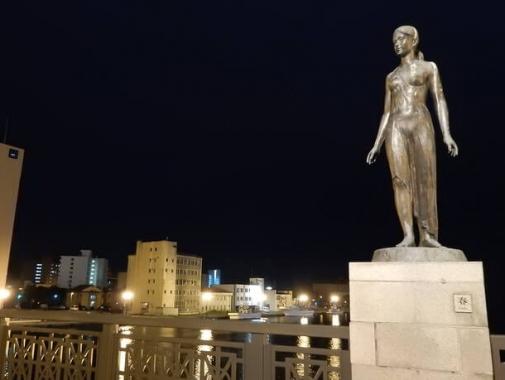 夜の橋の上の像