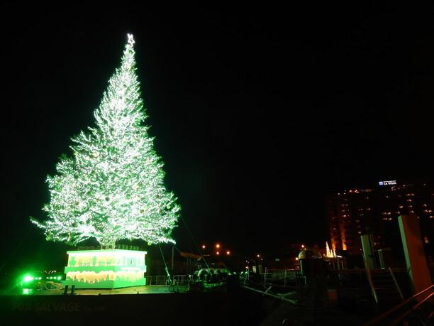 イツミネーションされた大きなクリスマスツリー