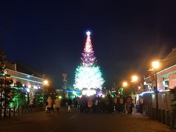 巨大クリスマスツリーの色が変わる様子