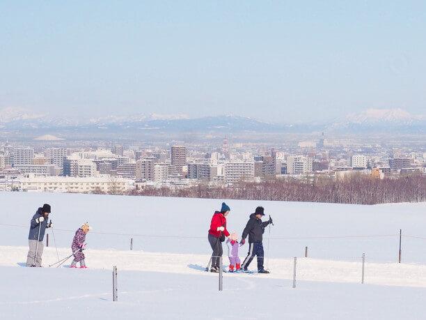 スキーで歩く様子