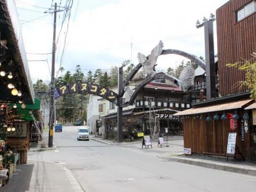 コタン入り口で出迎えてくれるのは「コタンコロカムイ(村の守り神)」