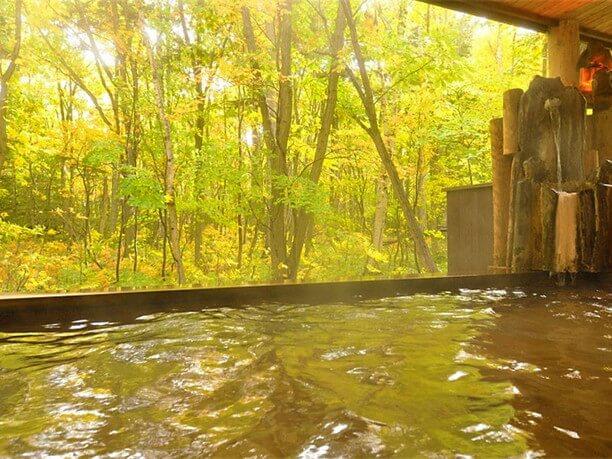 露天風呂から見る秋の紅葉