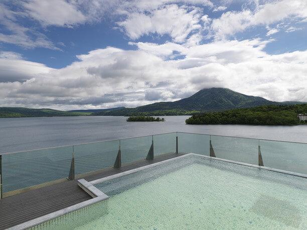 空中露天風呂から眺める景色