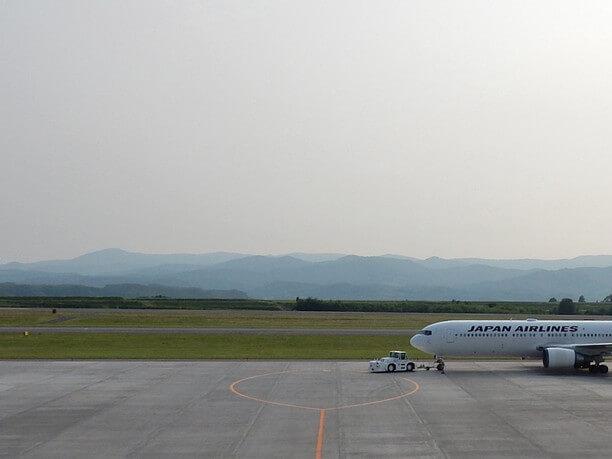 飛行機と山々