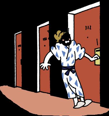 廊下に締め出される
