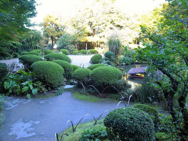詩仙の間から降り立って眺める庭