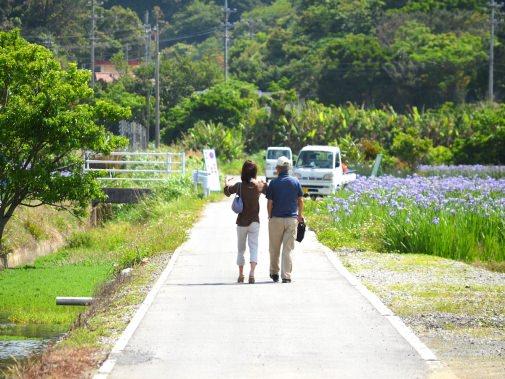 花を見に来た夫婦
