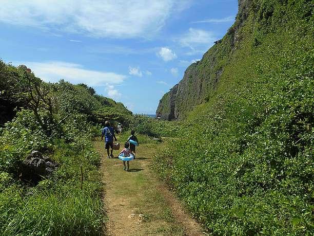 タコ公園下ビーチへの道