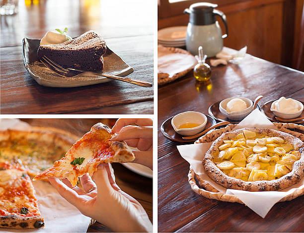 素敵なのんびりカフェのピッツァとパスタ
