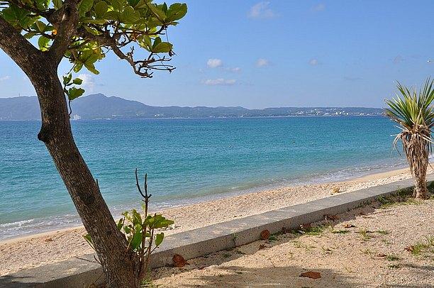 天然ビーチは地形のままにほぼ直線