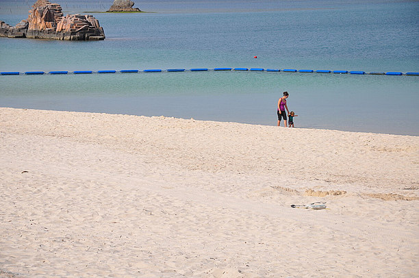 人工ビーチですがロングで砂浜も広い