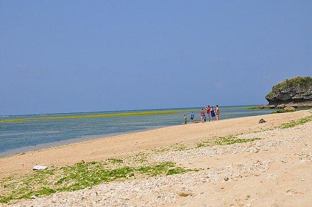 海は遠浅なので小さな子ども達も十分に楽しめる