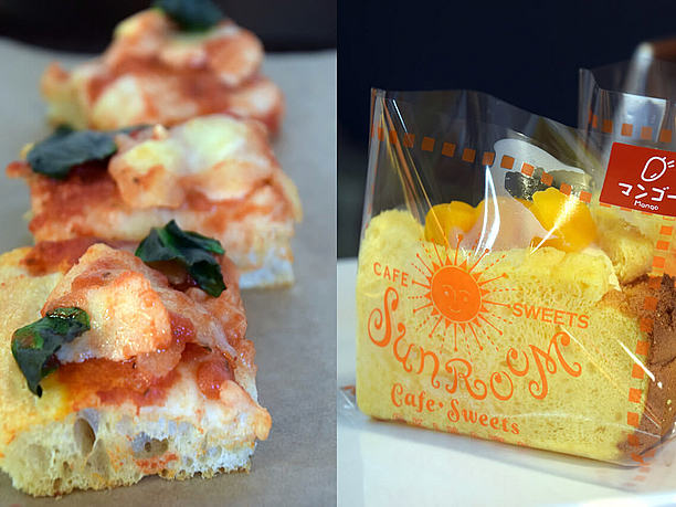 「SunRoom Sweets」のマンゴースイーツや「Vorale」の量り売りピザ