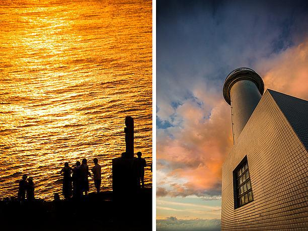 灯台の上から慰霊の像あたりを見下ろす