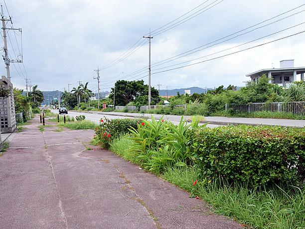 知念漁港へ続く道