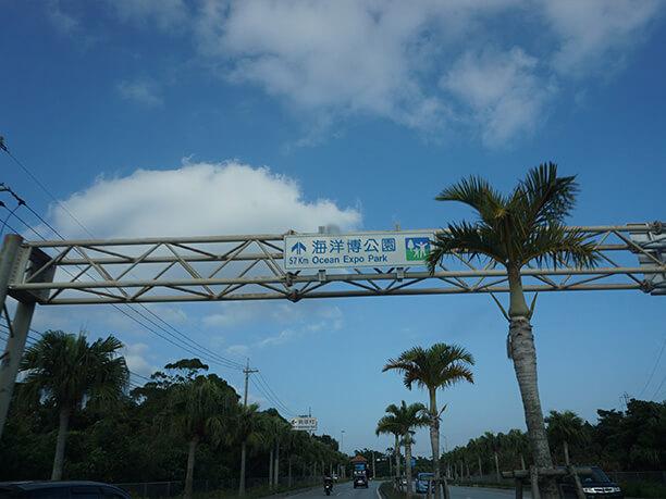 海洋博公園までの距離案内標識