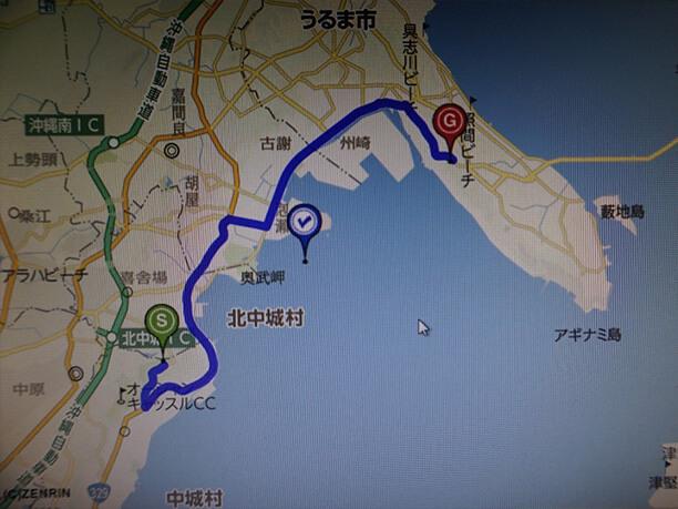 勝連城跡へのルート