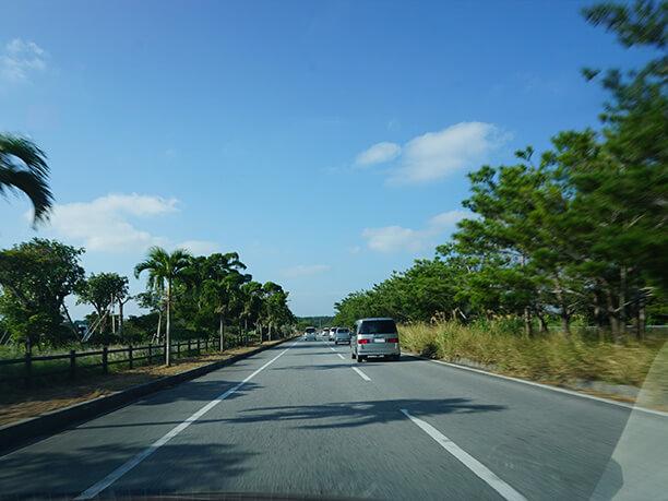 左右に基地がありそうな道路