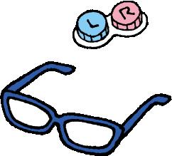 メガネ、コンタクト