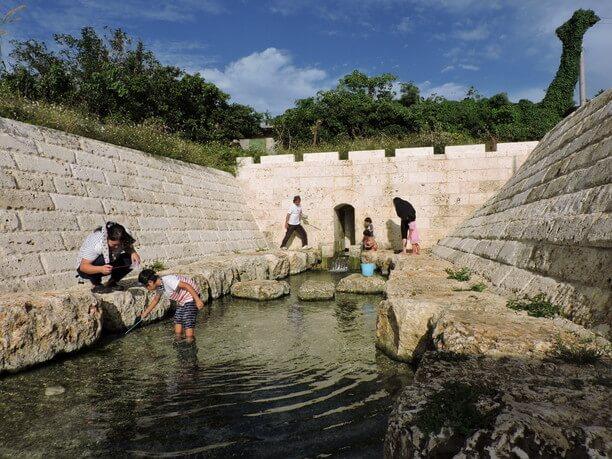 地元の人で賑わいを見せる川