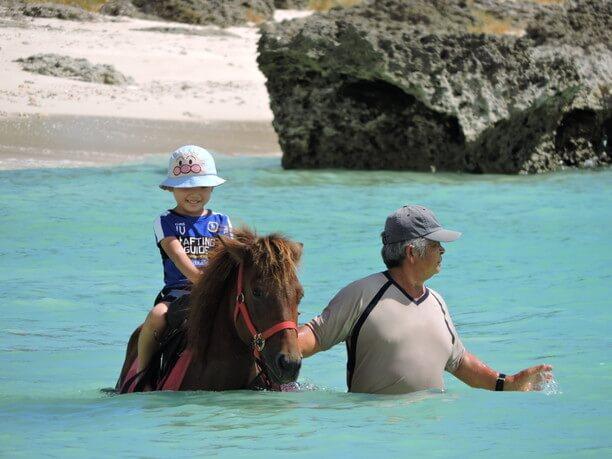 馬の背で笑顔の子供