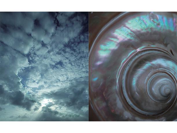 〈右〉夜光貝の渦/八重山螺鈿工房 〈左〉雲の渦