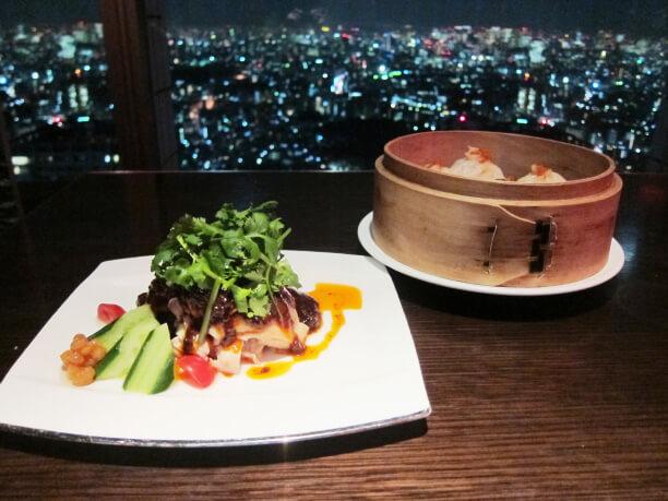 東京の夜景と美味しいディナー