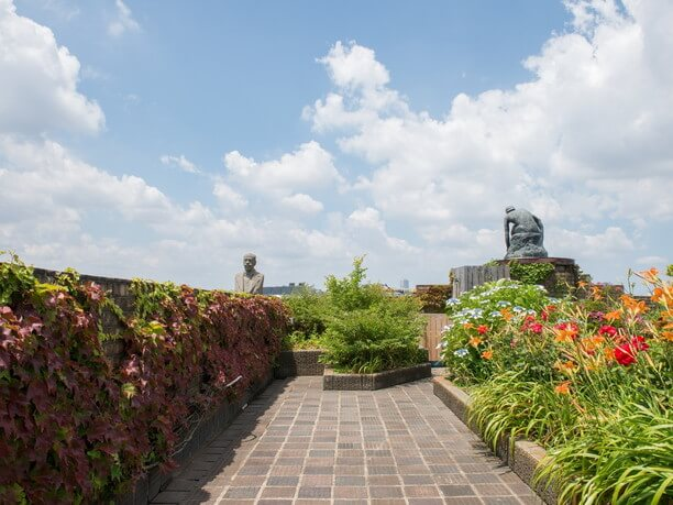 バラやアジサイが咲き誇る庭