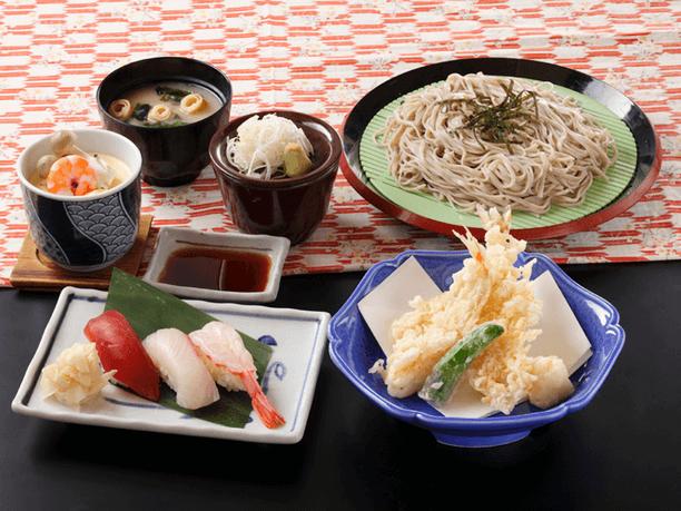 握り寿司と天ざるそば(うどん)セット